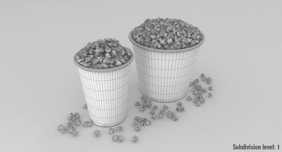 Popcorns In Tubs royalty-free 3d model - Preview no. 13