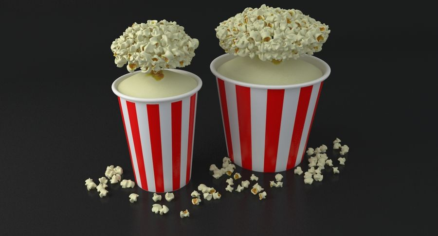 Popcorns In Tubs royalty-free 3d model - Preview no. 14