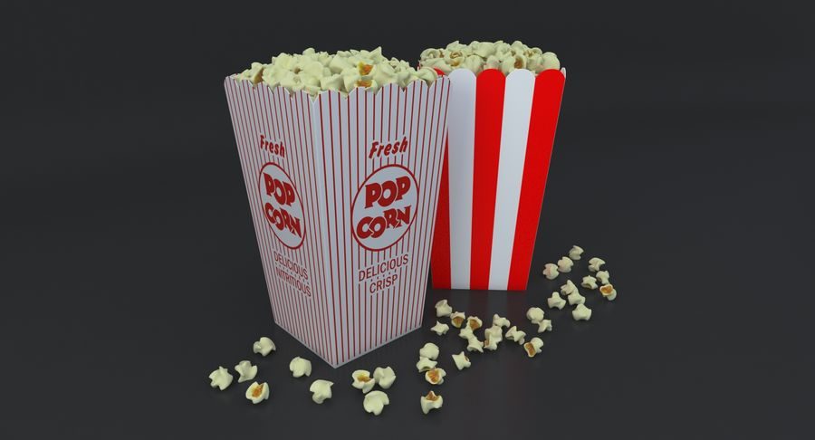 Popcorn W Pudełkach royalty-free 3d model - Preview no. 2