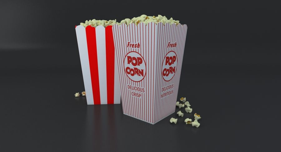 Popcorn W Pudełkach royalty-free 3d model - Preview no. 5