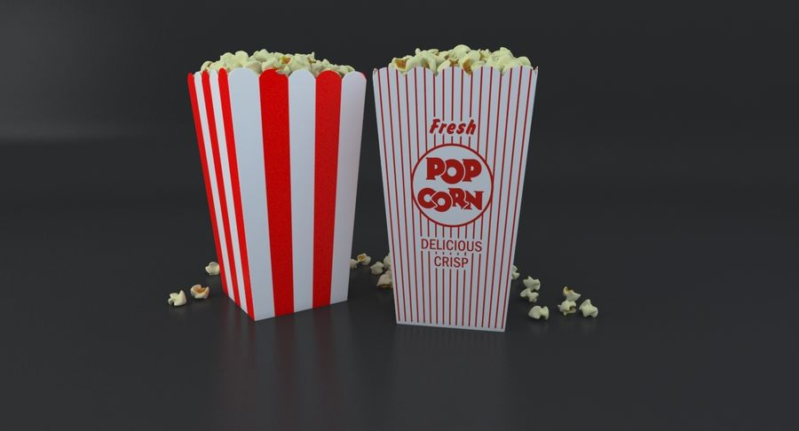 Popcorn W Pudełkach royalty-free 3d model - Preview no. 6