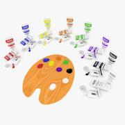 Palette de peinture et tubes 3d model