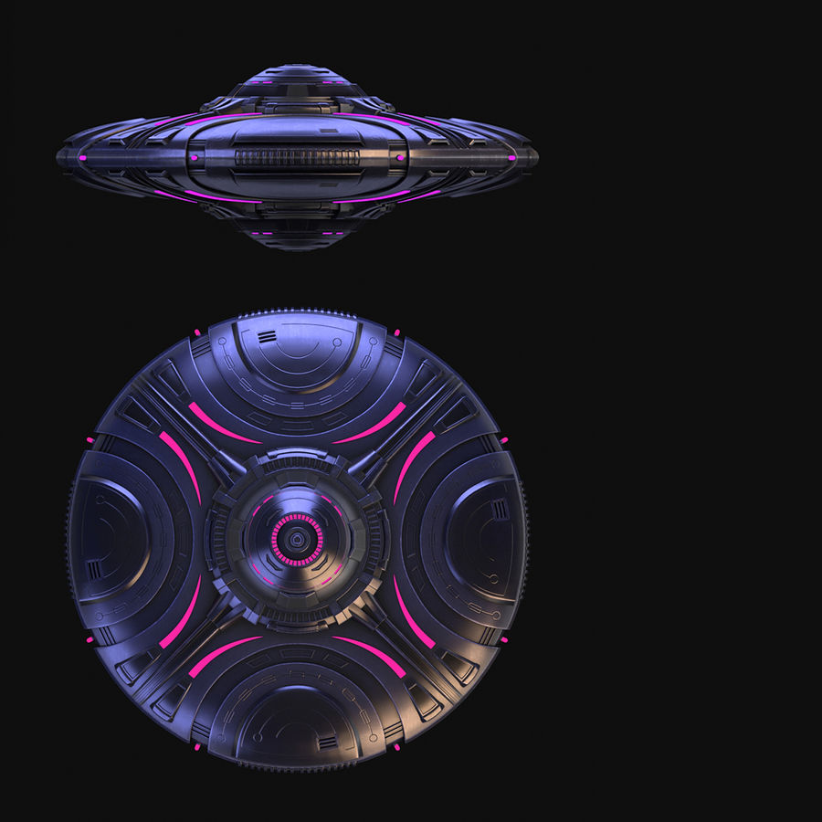 OVNI extraterrestre de science-fiction royalty-free 3d model - Preview no. 14