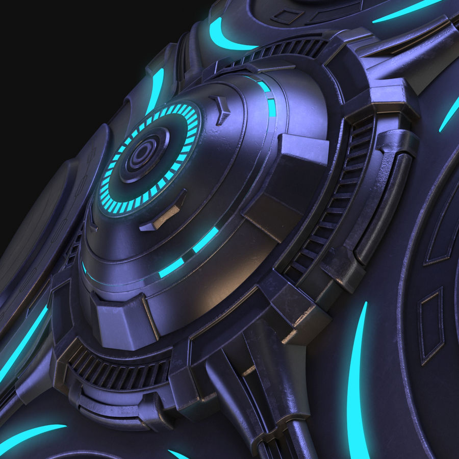 OVNI extraterrestre de science-fiction royalty-free 3d model - Preview no. 15