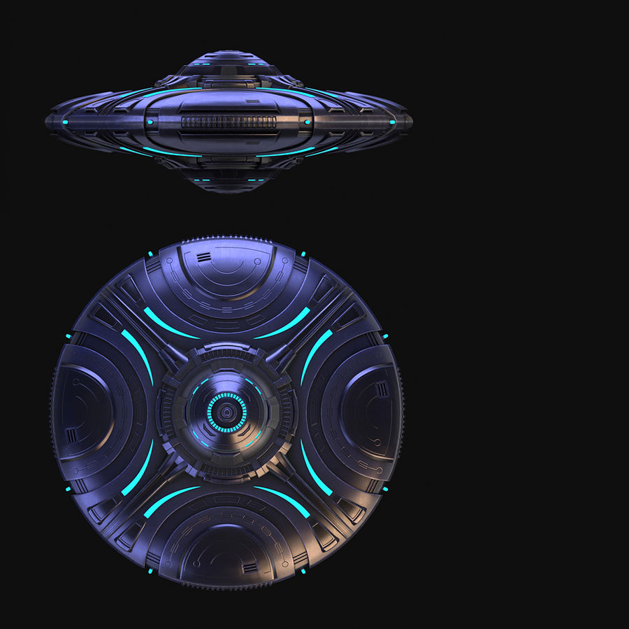 OVNI extraterrestre de science-fiction royalty-free 3d model - Preview no. 12
