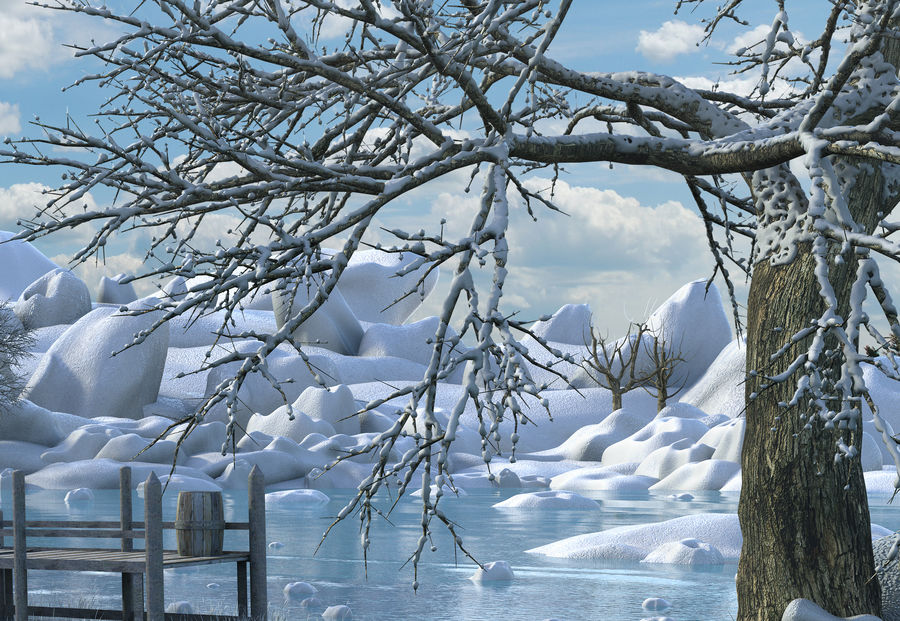 Fantasy Winter Beach royalty-free 3d model - Preview no. 7