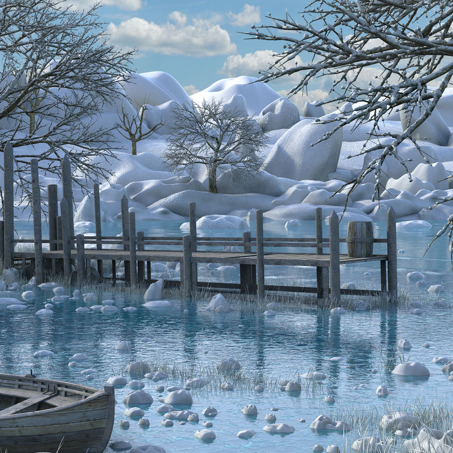 Fantasy Winter Beach royalty-free 3d model - Preview no. 10