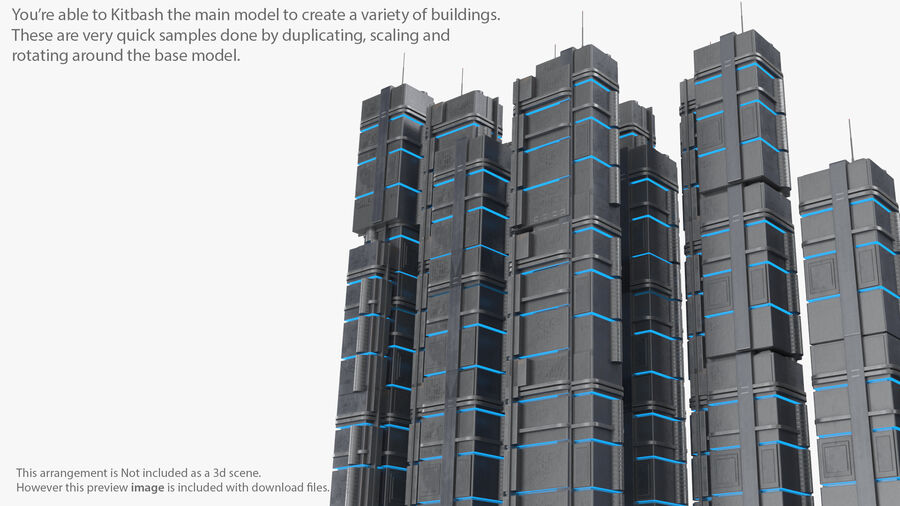 Sci fi Building royalty-free 3d model - Preview no. 21