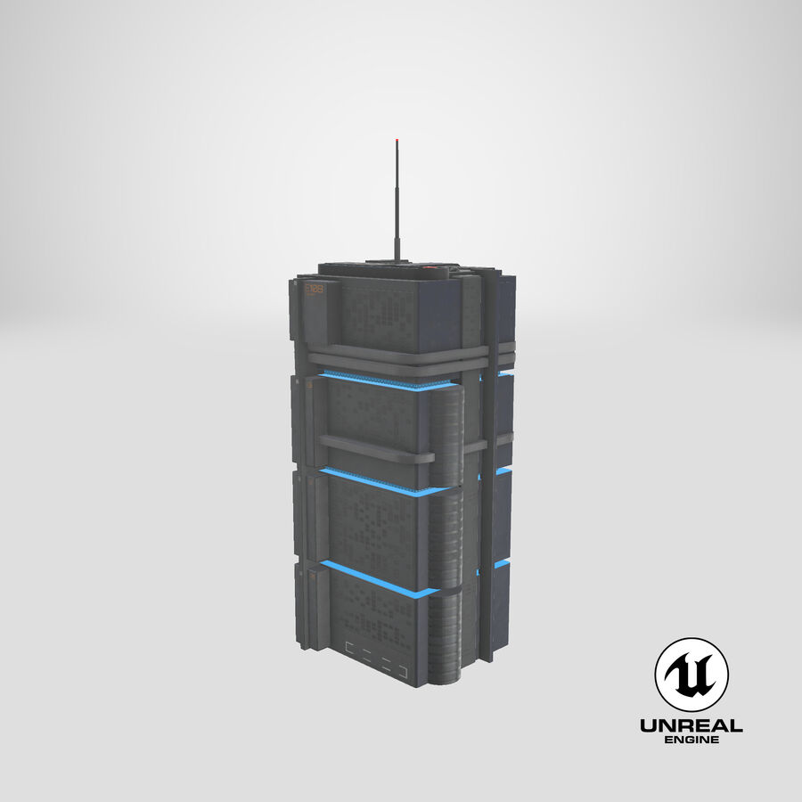 Sci fi Building royalty-free 3d model - Preview no. 28