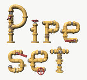 Stylized Pipe Set 3d model