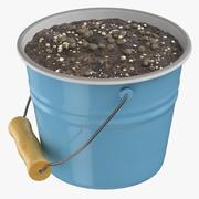 Metal Bucket With Dirt 3d model