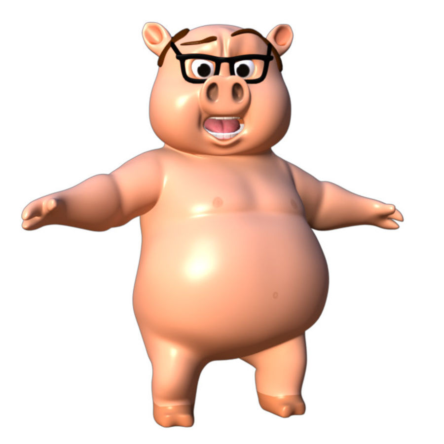 Cartoon Pig with Angel and Devil (Rigged) royalty-free 3d model - Preview no. 14