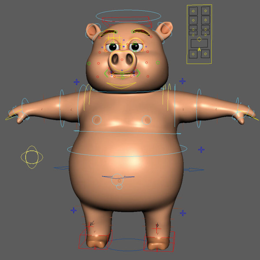 Cartoon Pig with Angel and Devil (Rigged) royalty-free 3d model - Preview no. 16