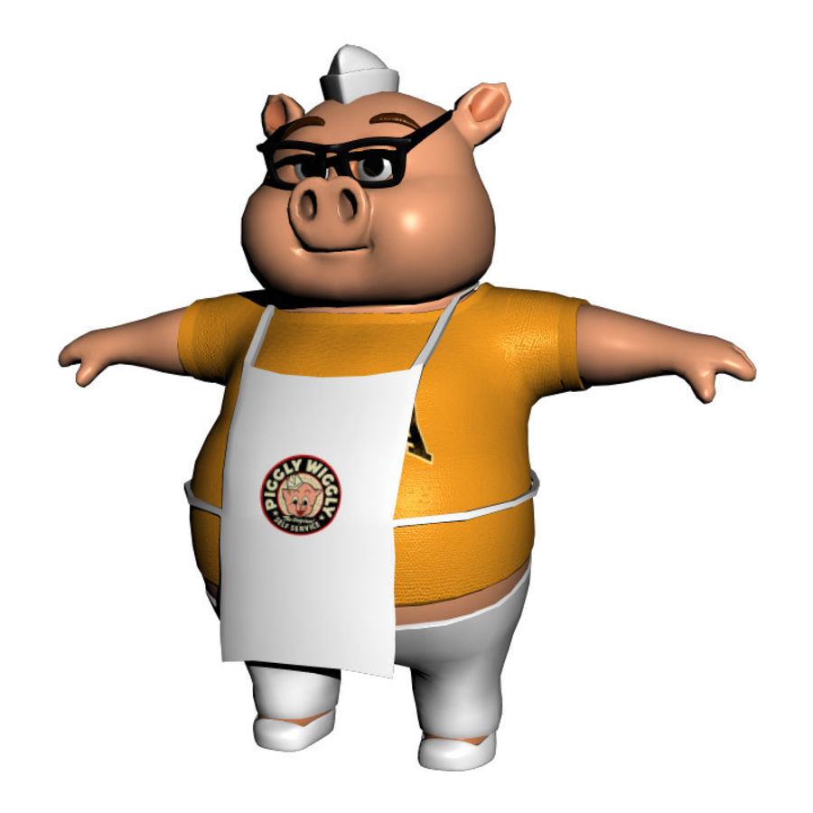 Cartoon Pig with Angel and Devil (Rigged) royalty-free 3d model - Preview no. 19