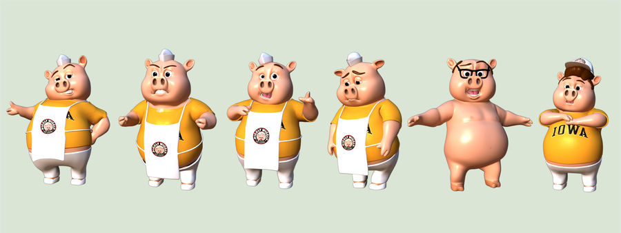 Cartoon Pig with Angel and Devil (Rigged) royalty-free 3d model - Preview no. 9