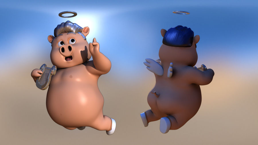 Cartoon Pig with Angel and Devil (Rigged) royalty-free 3d model - Preview no. 2