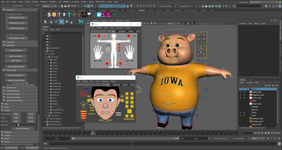 Cartoon Pig with Angel and Devil (Rigged) royalty-free 3d model - Preview no. 17