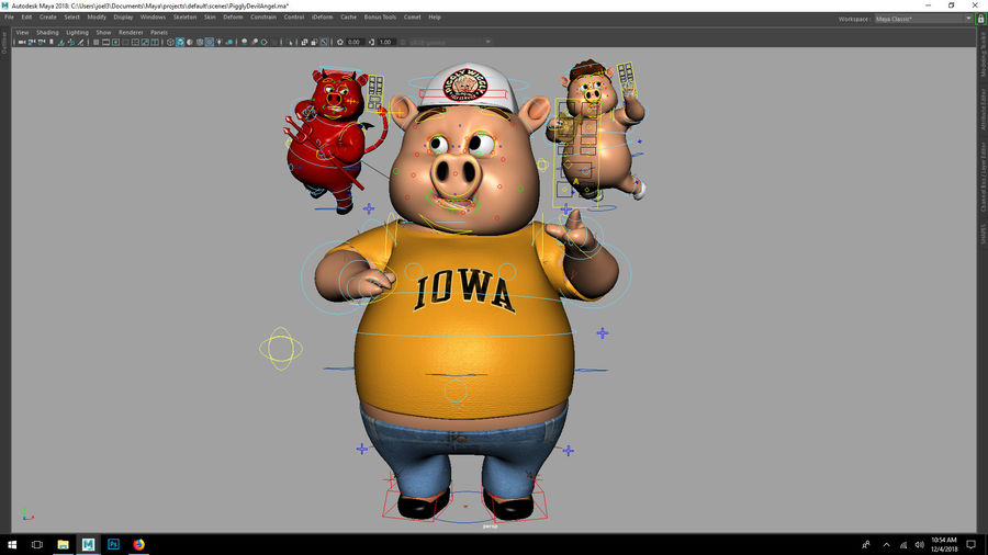 Cartoon Pig with Angel and Devil (Rigged) royalty-free 3d model - Preview no. 5