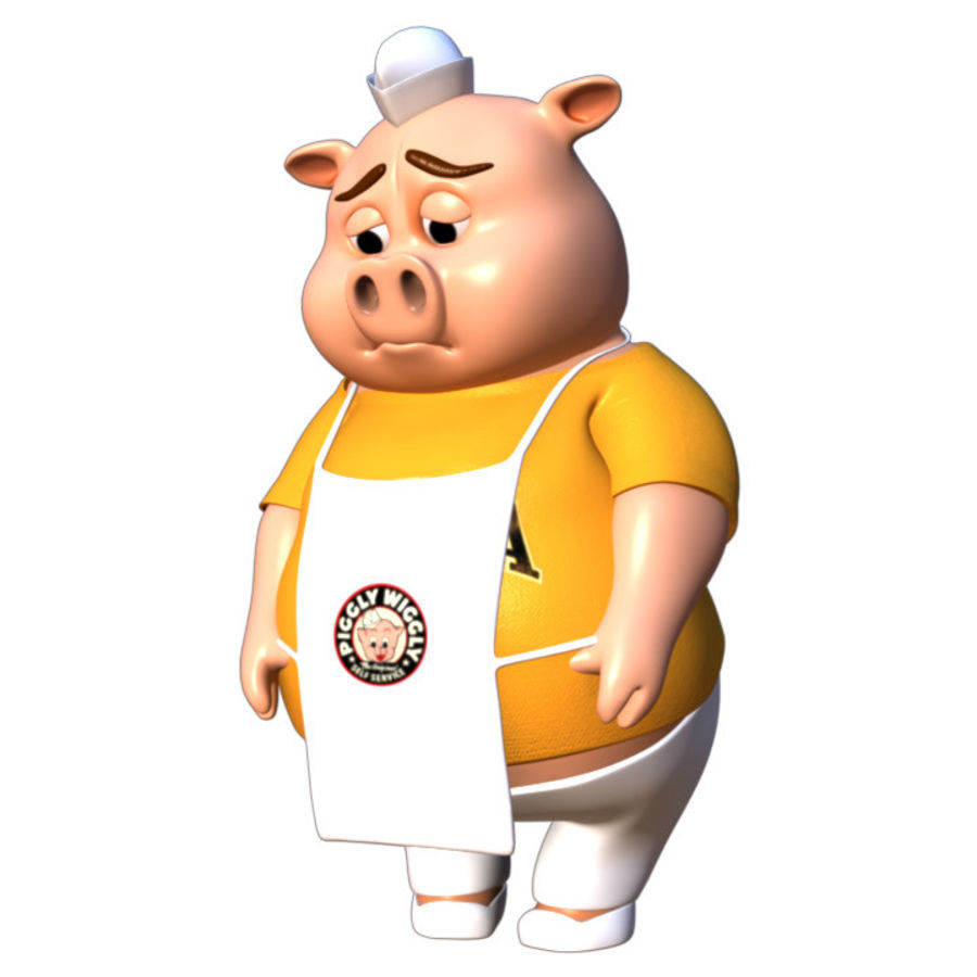 Cartoon Pig with Angel and Devil (Rigged) royalty-free 3d model - Preview no. 11