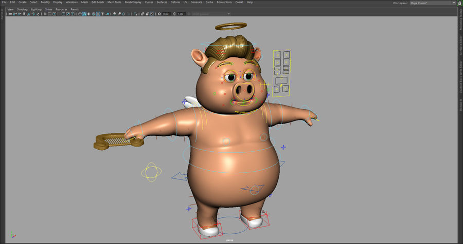 Cartoon Pig with Angel and Devil (Rigged) royalty-free 3d model - Preview no. 7