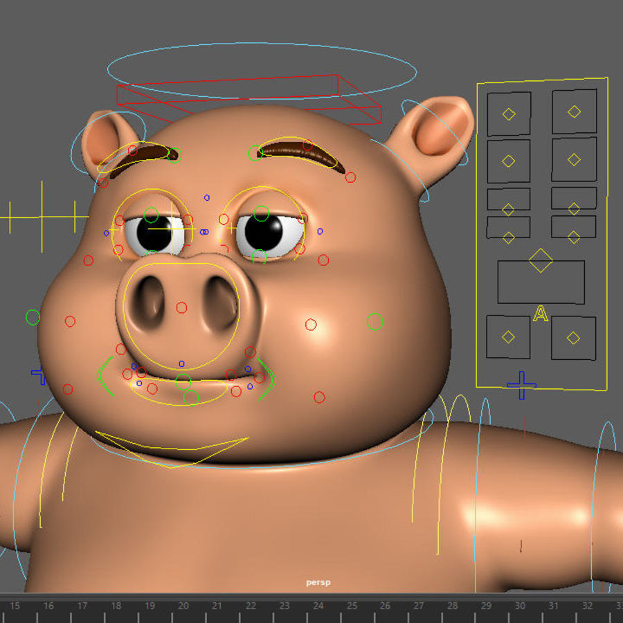 Cartoon Pig with Angel and Devil (Rigged) royalty-free 3d model - Preview no. 22