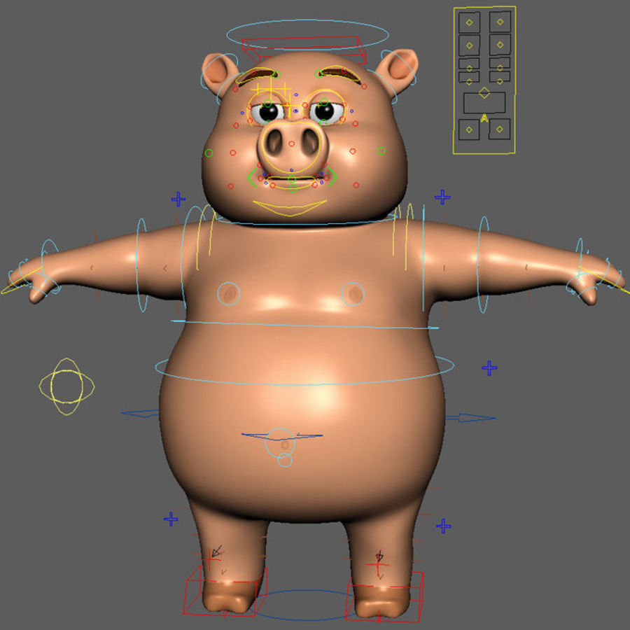 Cartoon Pig with Angel and Devil (Rigged) royalty-free 3d model - Preview no. 21