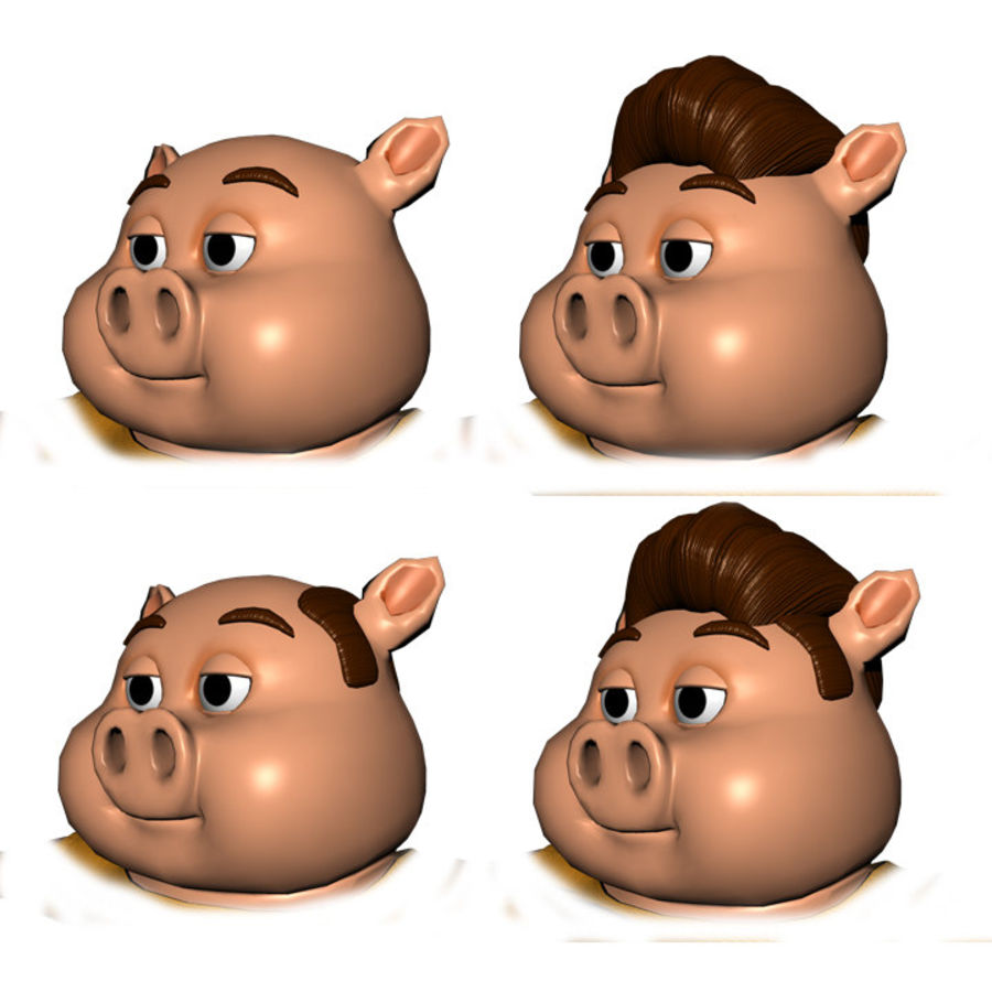 Cartoon Pig with Angel and Devil (Rigged) royalty-free 3d model - Preview no. 20