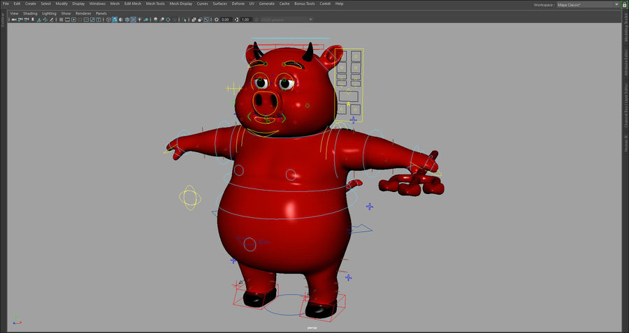 Cartoon Pig with Angel and Devil (Rigged) royalty-free 3d model - Preview no. 6