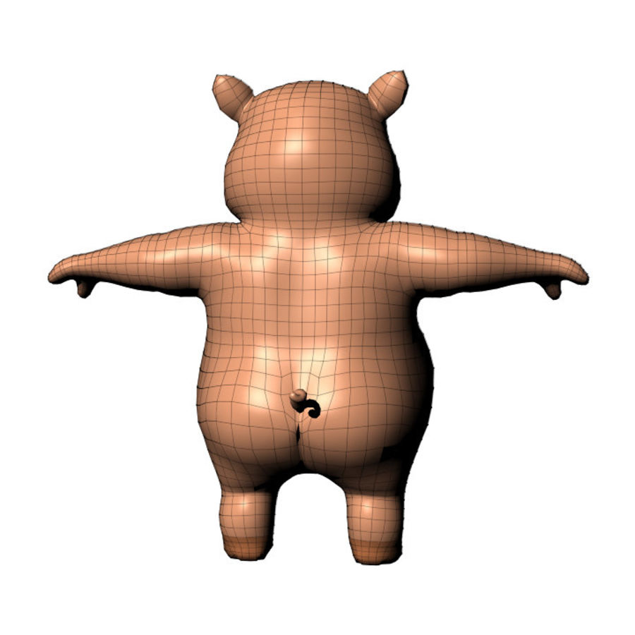 Cartoon Pig with Angel and Devil (Rigged) royalty-free 3d model - Preview no. 24