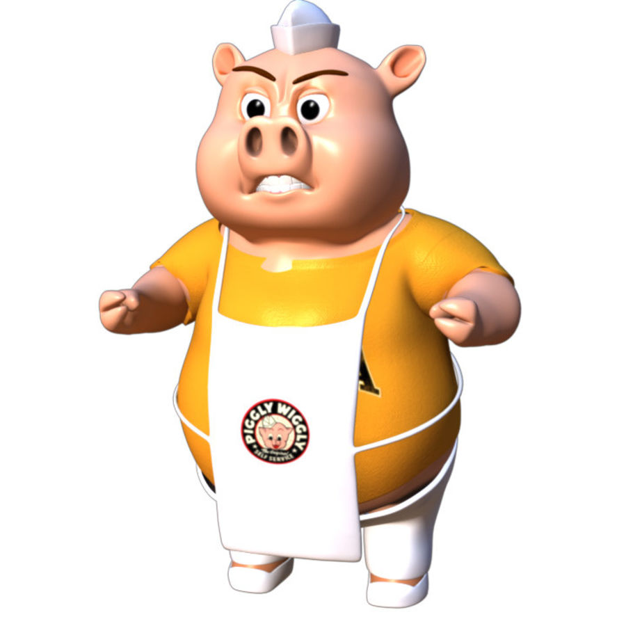 Cartoon Pig with Angel and Devil (Rigged) royalty-free 3d model - Preview no. 12