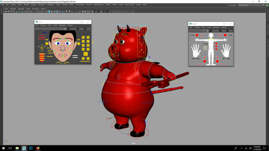 Cartoon Pig with Angel and Devil (Rigged) royalty-free 3d model - Preview no. 8