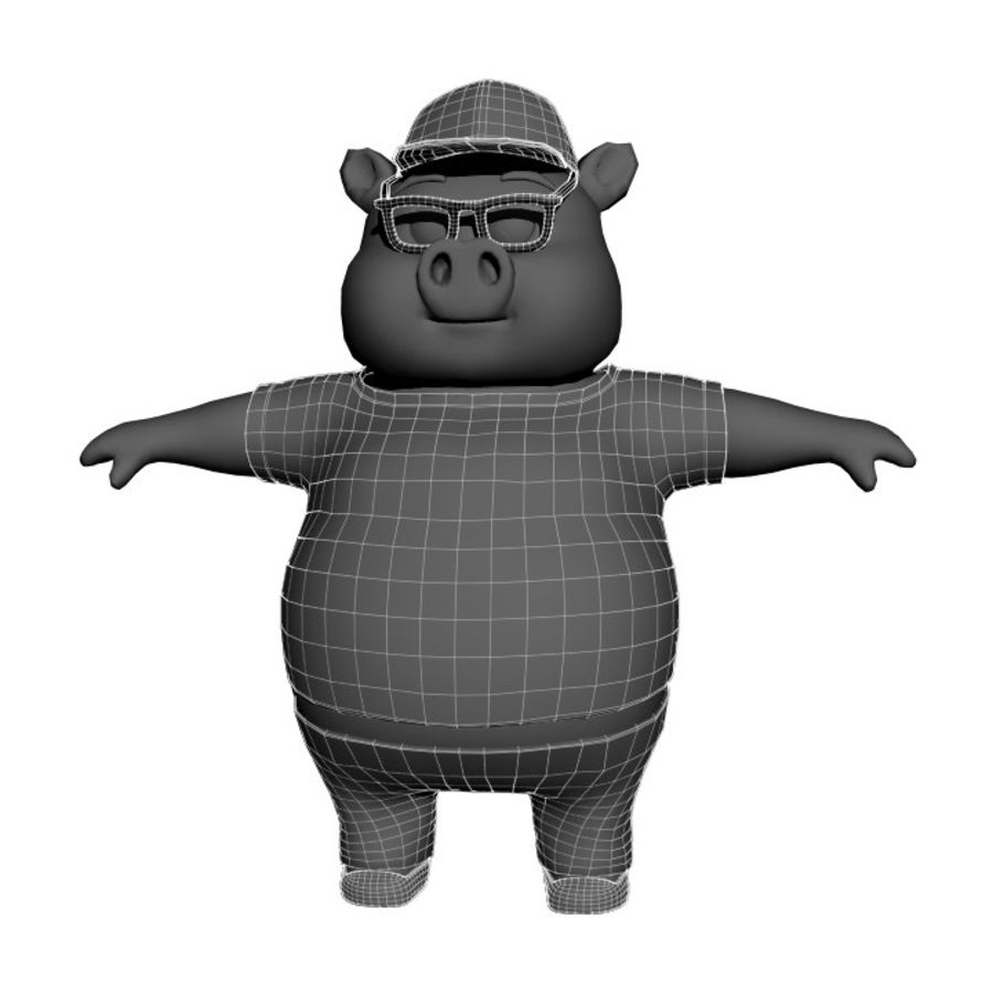 Cartoon Pig with Angel and Devil (Rigged) royalty-free 3d model - Preview no. 23