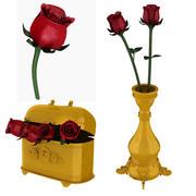 Rosa, scatola, vaso 3d model