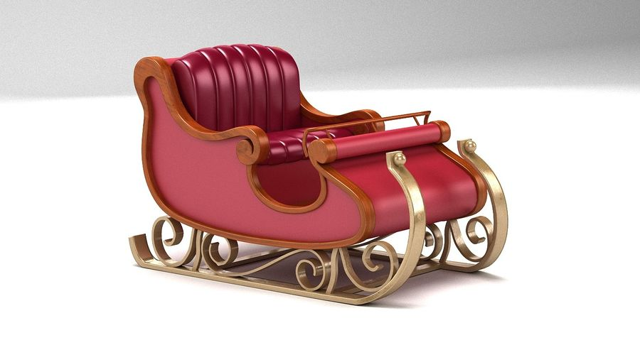 Slitta di Babbo Natale 2 royalty-free 3d model - Preview no. 2