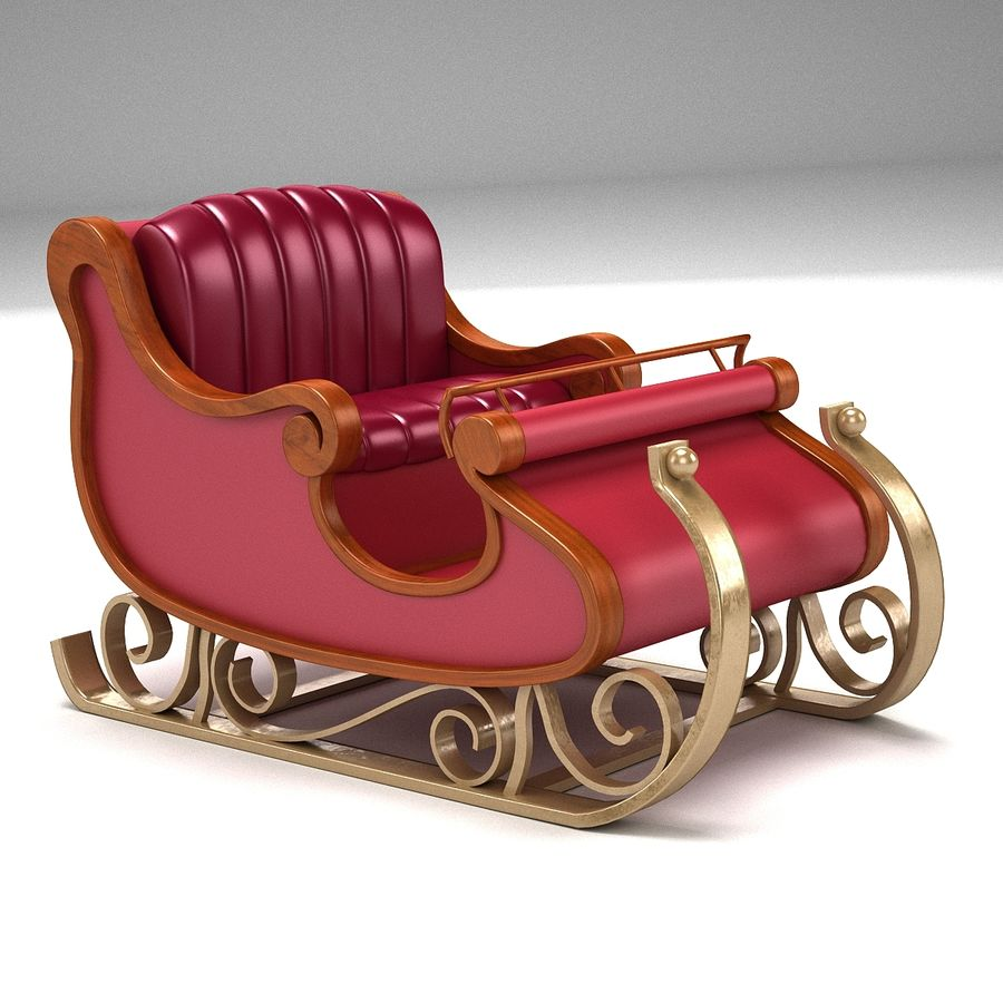 Slitta di Babbo Natale 2 royalty-free 3d model - Preview no. 1