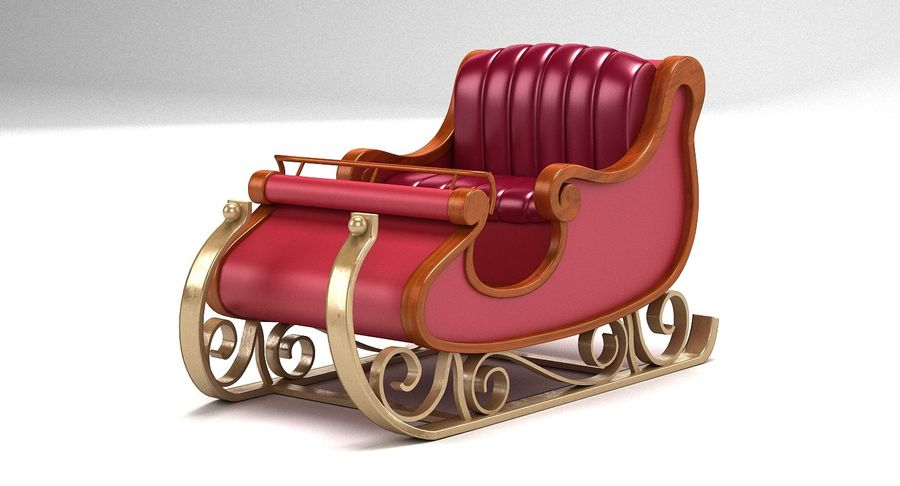 Slitta di Babbo Natale 2 royalty-free 3d model - Preview no. 3