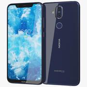 Nokia 8.1 (Nokia 7X) Blu Argento 3d model