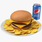 Posiłek Burger 3d model
