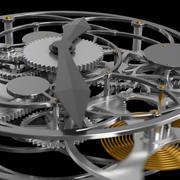 带有机制的动画时钟 3d model