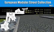 Europese modulaire straatcollectie 3d model