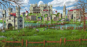 Fantasy Meadow Town 3d model