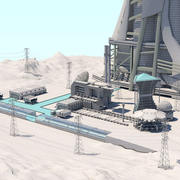 Futuristische exoplanetarische Einrichtung 3d model