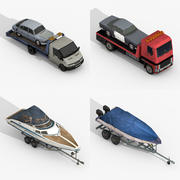 Caminhões de reboque e barcos de reboque 3d model