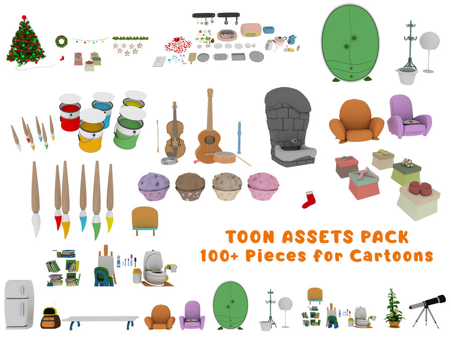 Cartoon Assets Pack royalty-free 3d model - Preview no. 1