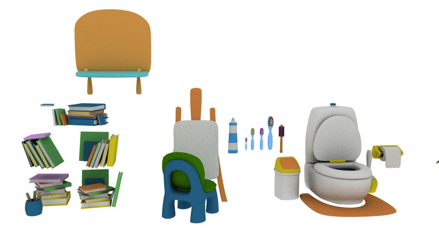 Cartoon Assets Pack royalty-free 3d model - Preview no. 18