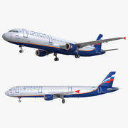 Airbus A321 Aeroflot 3d model