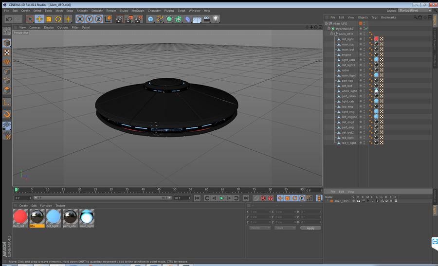 Alien UFO royalty-free 3d model - Preview no. 16