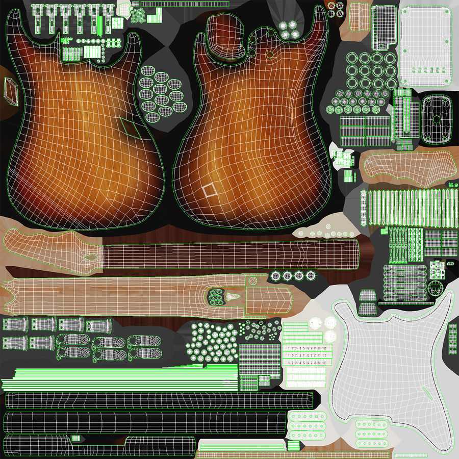 Electric Guitar royalty-free 3d model - Preview no. 19
