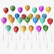 Alphabet sur des ballons 3d model