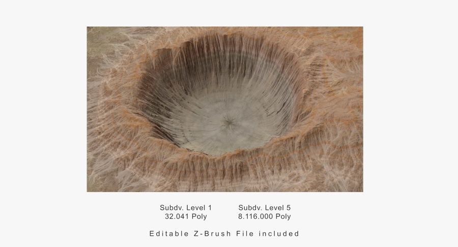 Crater Terrain - 2 royalty-free 3d model - Preview no. 14